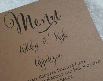 Wedding Menu Card - You Design - your choice of colorsEach menu is 0.60 cents