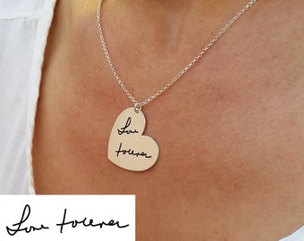 handwriting jewelry - Heart Signature Necklace - With your Personalized Signature - Handwritten Jewelry