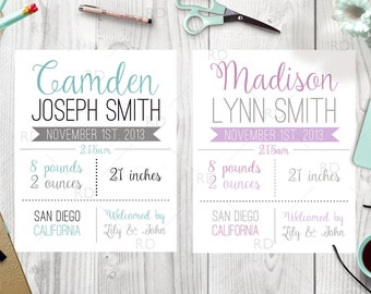 Birth Announcement PRINTABLE Wall Art / Date of Birth Printable / Baby Name Print / About Baby Print / You pick colors! Boy & girl colors