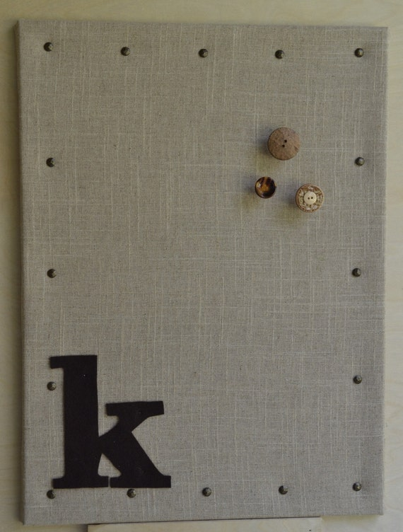 Personalized linen fabric covered cork bulletin board for Linen cork board