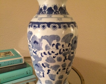 Blue and White Vintage Chinoiserie Vase