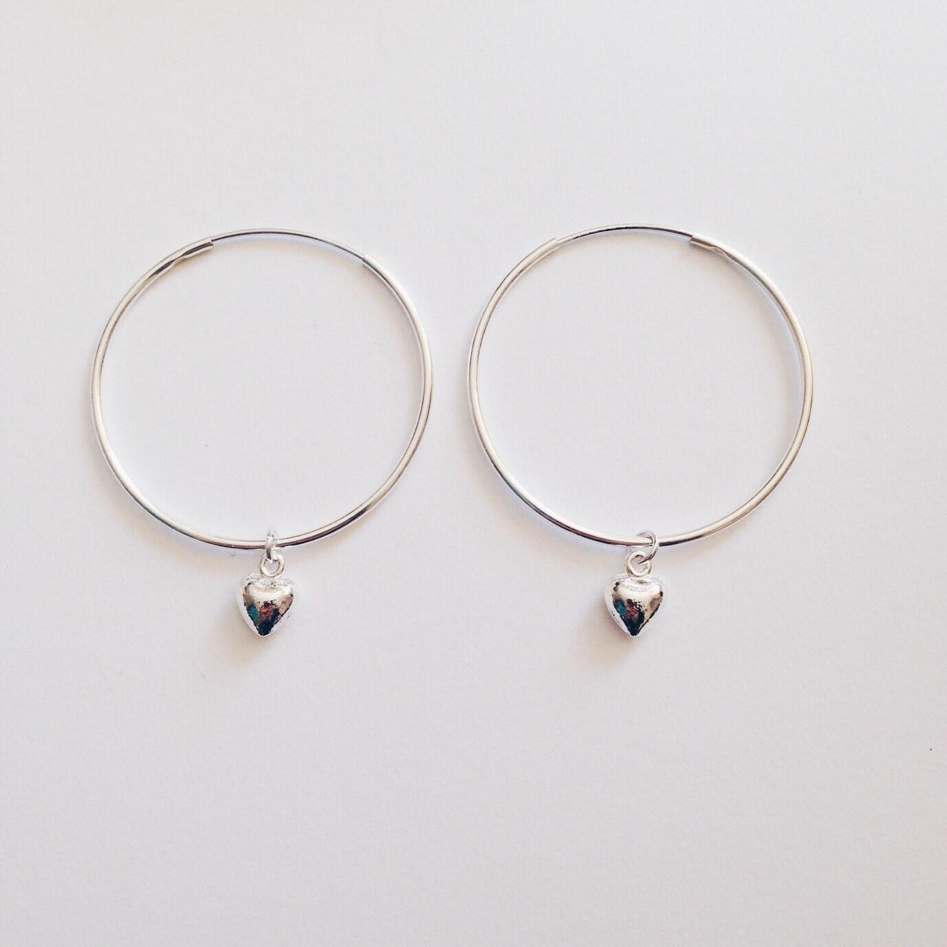 Heart Hoop Earrings Pretty Cute Love Heart Gift by KukeeUK