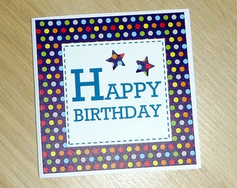 Modern Male Happy Birthday card - navy with spots - boys - teenagers - dads! Handmade greeting card for him!