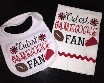 Cutest Gamecoks Fan OR Choose Your Favorite Team & Colors Bib / Burp Cloth Set