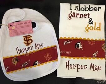 I Slobber Garnet and Gold OR Choose Your Favorite Team & Colors Bib / Burp Cloth Set