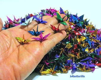 250pcs Assorted Colors 3.3cm (1.30 inches) Origami Cranes Hand-folded From 3.3cm x 3.3cm Square Paper. (4D Glittering paper series). #FCA-2.