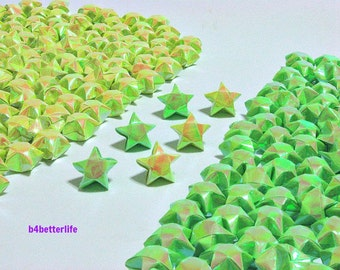 500pcs Yellow And Green Color Medium Size Origami Lucky Stars Hand-folded From 24.5 x 1.2cm Paper Strips. (AV paper series).