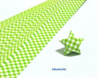 120 Strips Green Colors DIY Origami Paper Folding Kit For Folding The Big Lucky Stars. 34cm x 1.8cm. (KZ paper series). #Dotted. #SPK-143.