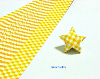 120 Strips Yellow Colors DIY Origami Paper Folding Kit For Folding The Big Lucky Stars. 34cm x 1.8cm. (KZ paper series). #Dotted. #SPK-153.
