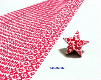 120 Strips Red Color DIY Origami Paper Folding Kit For Folding The Big Lucky Stars. 34cm x 1.8cm. (KZ paper series). #Floral. #SPK-161.