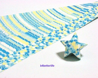 120 Strips of Turquoise Color DIY Origami Paper Folding Kit For Folding The Large Lucky Stars. 34cm x 1.8cm. (KZ paper series). #Heart.