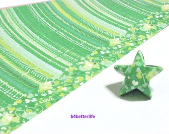 120 Strips Green Color DIY Origami Paper Folding Kit For Folding The Big Lucky Stars. 34cm x 1.8cm. (KZ paper series). #Love. #SPK-147.