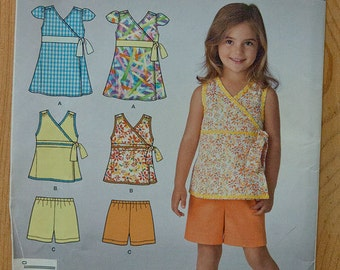 Sewing Pattern for Girls' Top and Shorts Simplicity 2429 Uncut