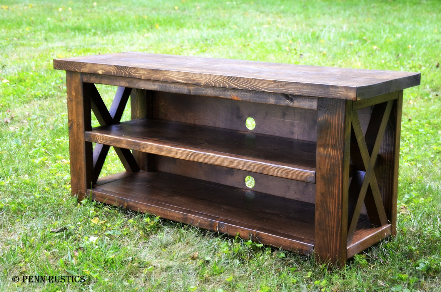 rustic x entertainment console table. Black Bedroom Furniture Sets. Home Design Ideas