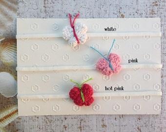 So Sweet... Baby Girl crochet Butterfly on Skinny Headband 0-12 months