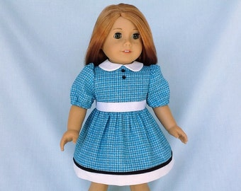 Blue Plaid Dress for American Girl/18 inch doll
