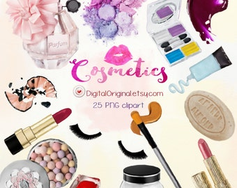 Hand painted cliparts / Cosmetics /  High Quality 300ppi / Big size / PNG.