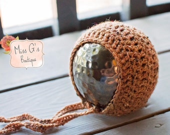 Burnt Orange Tweed Newborn Bonnet - Photography Prop