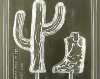 Cactus & Boot Chocolate lollipop mold