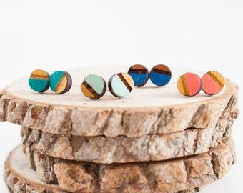 Laser Cut Half Painted Circle Wood Earrings | Wood Gift Earrings