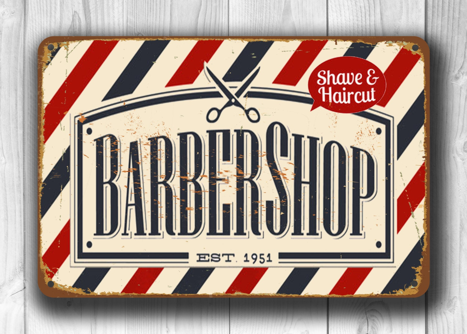 Antique barber shop sign -  Vintage Style Barber Shop Sign Barber Sign Zoom