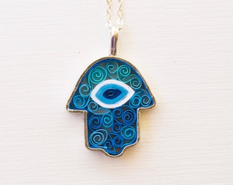 hamsa necklace turquoise