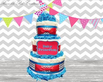 3 Tier Diaper Cake - Baby Shower Gift - Baby Shower Centerpiece - Chevron Grey Red Teal Bow Tie Theme