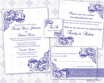 Wedding Invitation Printable Template Set | Printable Invitation Suite (5x7) - Digital DIY | Royalty in Imperial