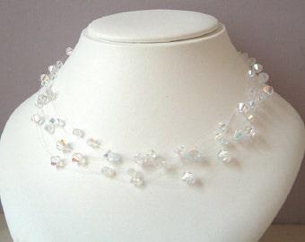 AB Crystal illusion necklace, 5 strand, Swarovski Crystal illusion necklace, Sterling Silver heart floating bridal necklace, wedding jewelry