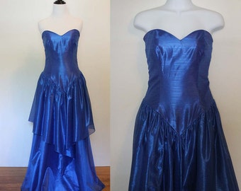 Vintage 1980s Blue Sweetheart Party Dress