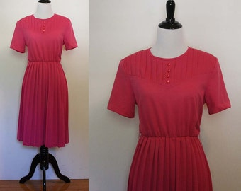 Vintage 1980s Fuchsia Pleated Day Dress