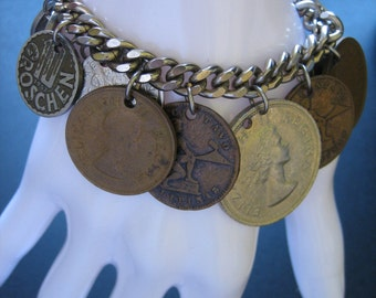 Vintage 1950s Genuine Foreign Coin Link Charm Bracelet~15 Coins~7-Inch