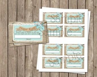 Blue Mason Jar, Burlap, Baby Boy Shower, Diaper Raffle Ticket, 3.5x2, Printable, Instant download