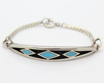 Sterling Silver Navajo Panel and Chain Bracelet w Turquoise Inlay. [4998]
