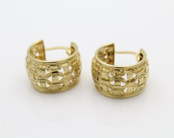 Chubby Gold Vermeil on Sterling Silver Barrel Hoop Textured Earrings. [5180]