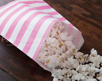 Pink Favor Treat Bags Pink Cookie Candy Bags Pink Favor Bags Pink Paper Bags Pink Rugby Striped Bags Candy Buffet Barbie Girl Party Bags