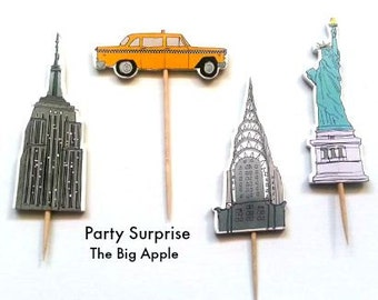 12 Big Apple Cupcake Toppers, New York City party cake decorations, The City party Manhattan party decor NYC cupcake toppers