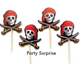 12 Pirate Skull Cupcake Toppers,Pirate Party Decoration,Pirate Cake Decoration,Boy Party Cupcake Topper,Scary Pirate Party,Kids Pirate Party