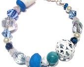 Blue and White, Beaded Bracelet