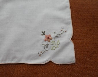 Set of 8 Ivory Cotton Napkins  Machine Embroidery Floral