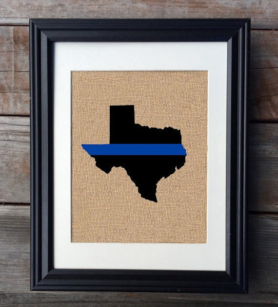 Thin Blue Line State Burlap Print Police Officer Print