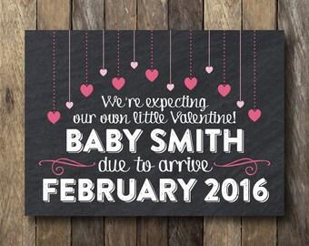 Valentine Pregnancy Announcement - Printable Pregnancy Reveal - Valentine's Day Pregnancy Announcement - Valentine Pregnancy Reveal