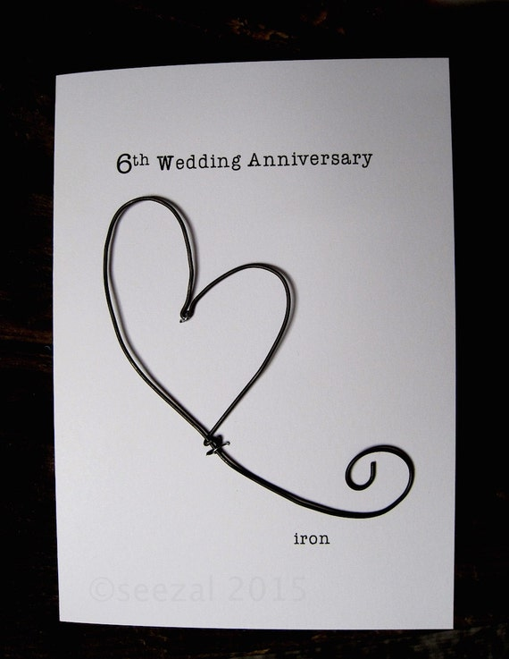 6th Wedding Anniversary Keepsake Card IRON Wire Heart 6 Years Traditional Gift Husband Wife Size