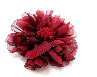 4 15/16 Inches Red Layered Flower With Crystal Center|Hair Flower|Flower Brooch Pin|Hair Clip|Clothing Decorative Embellishment|Supplies