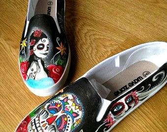 Day of the Dead shoes Sugar Skull Hand Painted white canvas sneakers custom shoes for Men and Women