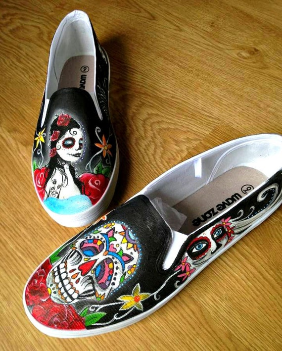 Day of the Dead shoes Sugar Skull Hand Painted white canvas