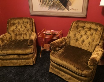 ON SALE NOW***Set of 2 Vintage Clubman Style Velour Swivel Chairs
