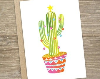 XMAS CARD - Christmas cactus card with envelope