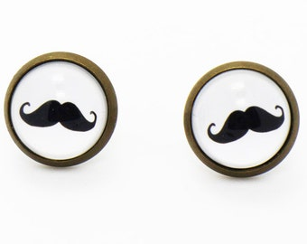 Mustache Stud Earrings, White Earrings, Mustaches Earrings, Hipster Earrings, Cute Earrings, Hippie Earrings, Black and White Stud