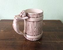 "Nude mug, ""she's got me over a barrel"", retro nude mug, nude woman handled mug"
